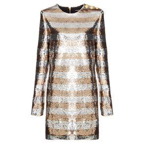 Vestido Robe Courte Balmain Prata/ouro/38