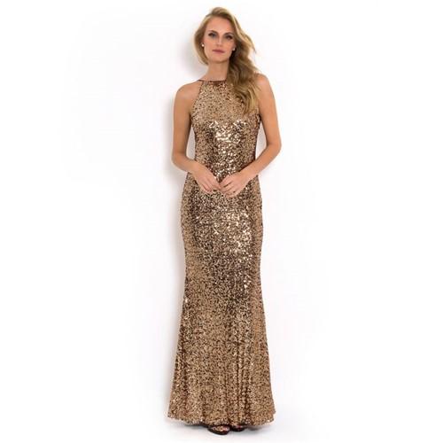 Vestido Solaris Longo Todo Bordado Badgley Mischka - Dourado