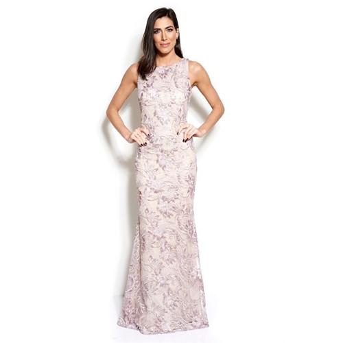 Vestido Spring Longo Bordado com Aplicações de Flores em Renda Badgley Mishcka - Lilás/rosé