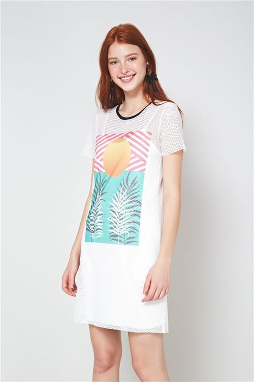 Vestido T-Shirt Tropical Off Sand - P