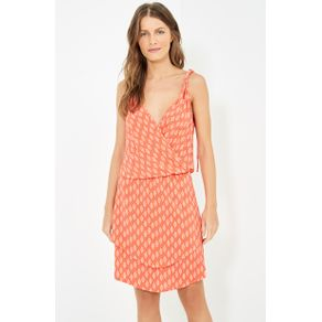 Vestido Transpasse Estampa Nox - Vermelho - M