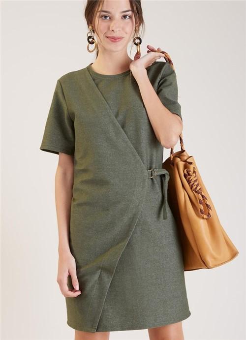 Vestido Transpasse Malha Textura Verde Escuro P