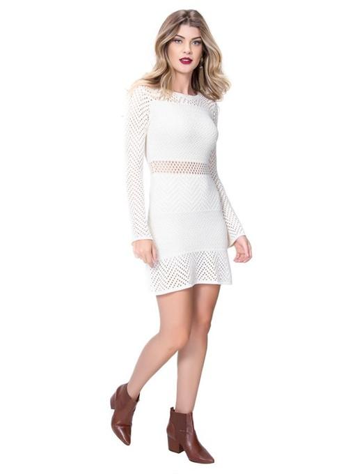Vestido Tricot com Furos Branco