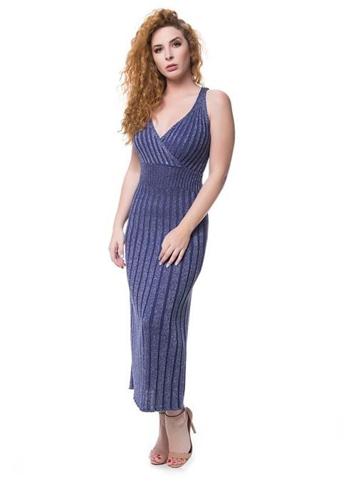 Vestido Tricot Lurex Azul