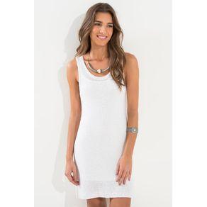 Vestido Tricot Mini Paete Branco - G
