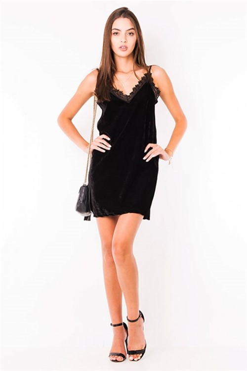 Vestido Veludo de Alças com Guipir VE1801 - Kam Bess