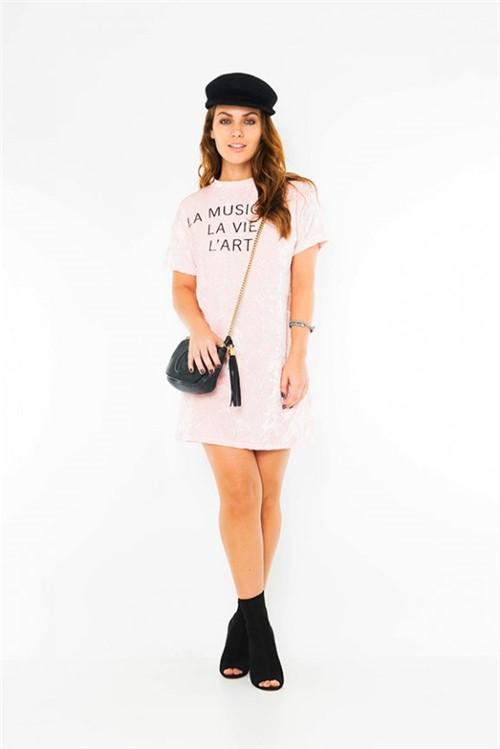 Vestido Velvet com Estampa Escrita VE1812 - Kam Bess