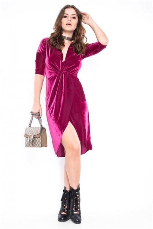Vestido Velvet com Transpasse VE1855 - Kam Bess
