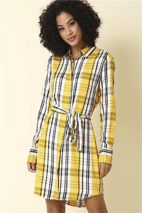Vestido Xadrez Manga Longa - Amarelo Tamanho: M