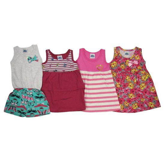 Vestidos e Macaquinho Bebê Kit com 4 Unidades Cinza Mescla, Bordô, Rosa e Pink-1