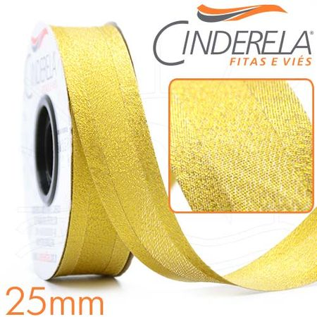 Viés com Lurex Grosso 25mm 20 Metros - Ouro