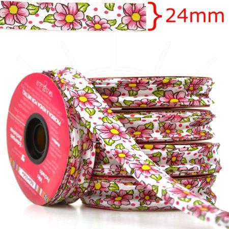 Viés Estampado Fino 24mm 20 Metros - Chita Branco com Pink