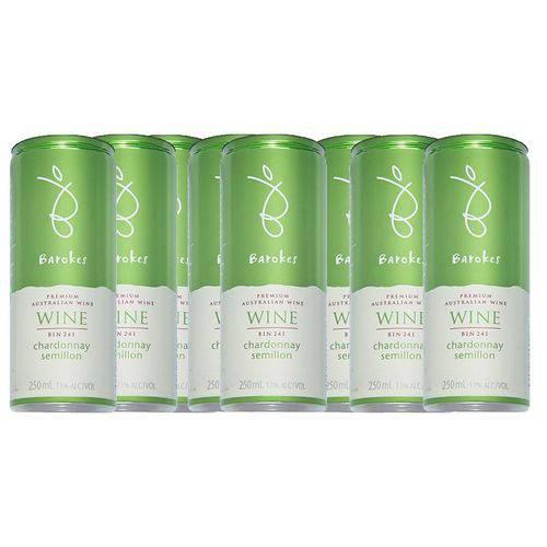 Vinho Branco Premium Demi Sec Australiano Barokes Pack 8 Latas de 250 Ml