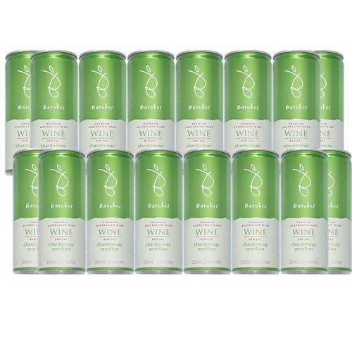 Vinho Branco Premium Demi-Sec Barokes Australiano Pack 16 Latas de 250 Ml