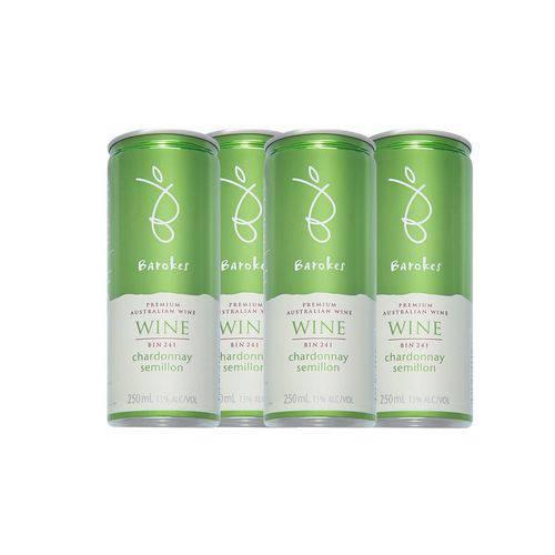 Vinho Branco Premium Demi Sec Barokes Australiano Pack C/ 4 Latas de 250 Ml