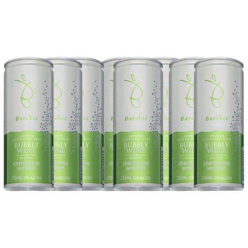 Vinho Branco Premium Frisante Seco Australiano Barokes Pack 8 Latas de 250 Ml