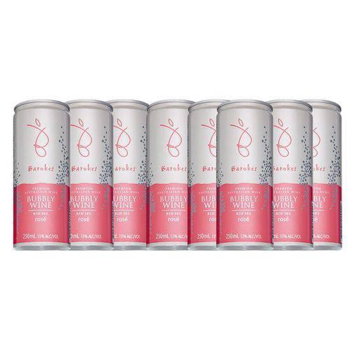 Vinho Premium Rose Frisante Seco Australiano Barokes Pack 8 Latas de 250 Ml
