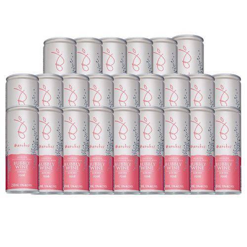 Vinho Rose Frisante Seco Premium Australiano Barokes Pack 24 Latas de 250 Ml