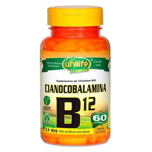 Vitamina B12 Cianocobalamina (450mg) 60 Cápsulas Vegetarianas - Unilife