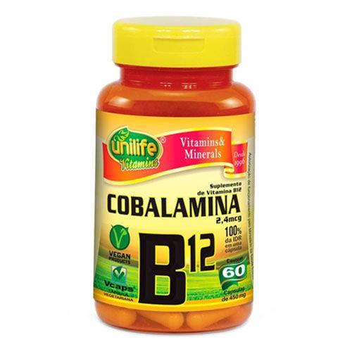 Vitamina B12 Cianocobalamina Unilife 60 Cápsulas