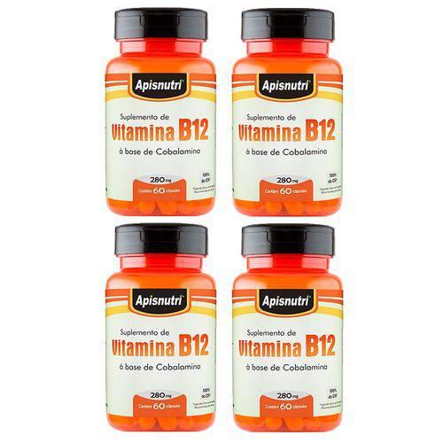 Vitamina B12 (cobalamina) - 4 Un de 60 Cápsulas - Apisnutri
