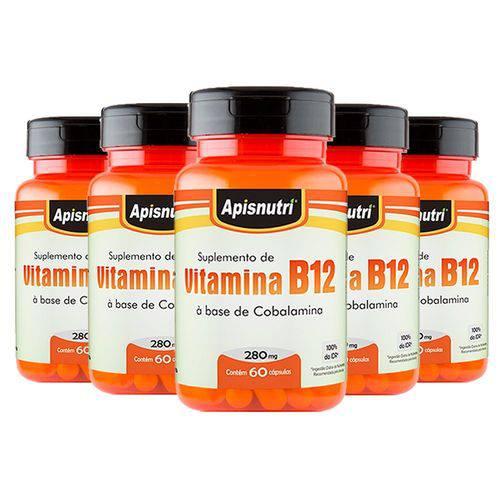 Vitamina B12 (cobalamina) - 5 Un de 60 Cápsulas - Apisnutri