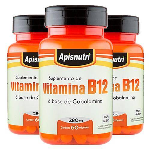 Vitamina B12 (cobalamina) - 3 Un de 60 Cápsulas - Apisnutri