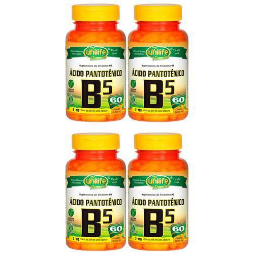 VItamina B5 (Ácido Pantotênico) - 4 Un de 60 Cápsulas - Unilife