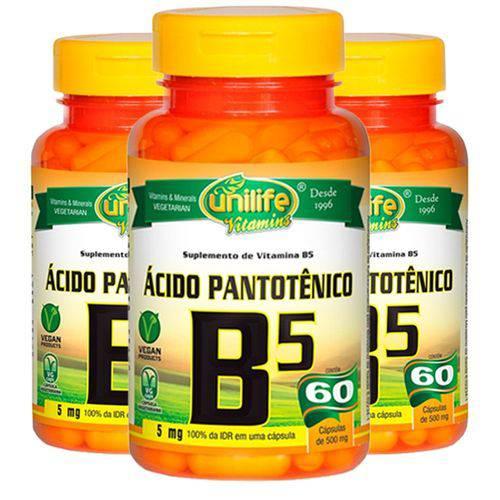 VItamina B5 (Ácido Pantotênico) - 3 Un de 60 Cápsulas - Unilife