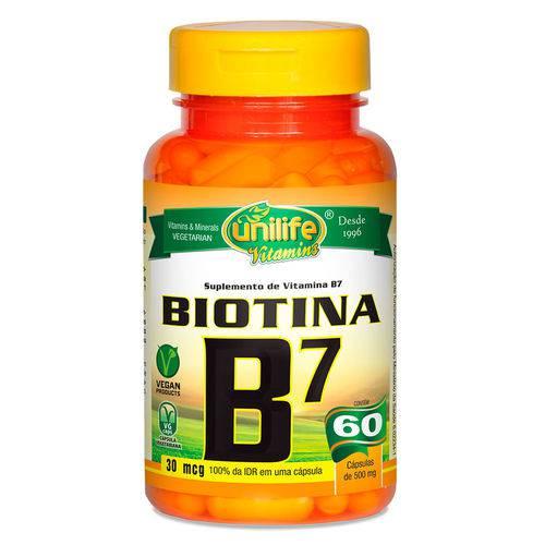 Vitamina B7 Biotina (500mg) 60 Cápsulas Vegetarianas - Unilife
