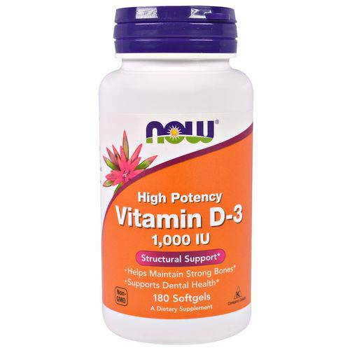 Vitamina D-3 - Alta Potência - 1.000 UI 180 Cápsulas de Softgel - Now Foods