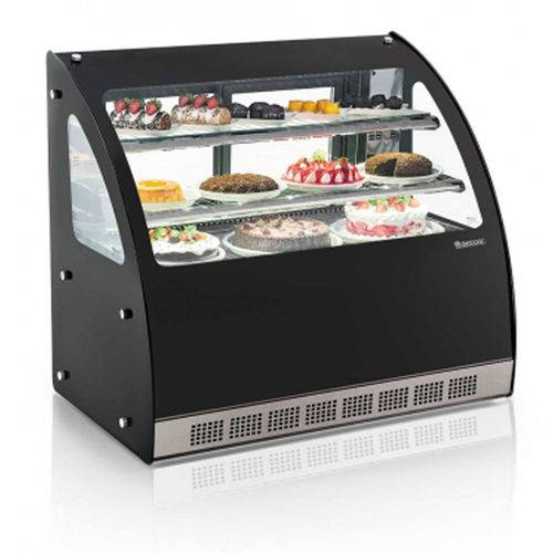 Vitrine Refrigerada Dupla Função Ggeb-110 Linha Gourmet Elegance Bancada Vidro Curvo Gelopar