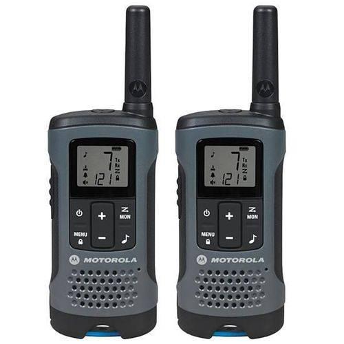 Walkie Talkie Motorola T-200MC para Até 32Km/20 Millas - Preto/Cinza