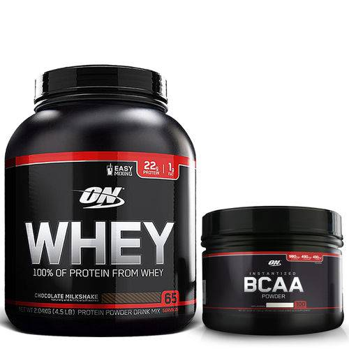 Whey 100% 2,04kg (4,5LB) Chocolate + Bcaa 300g Sem Sabor Optimum Nutrition