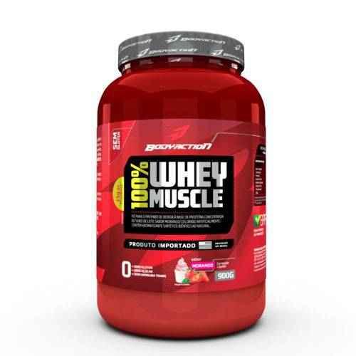 WHEY 100% MUSCLE - BODY ACTION 900G Baunilha