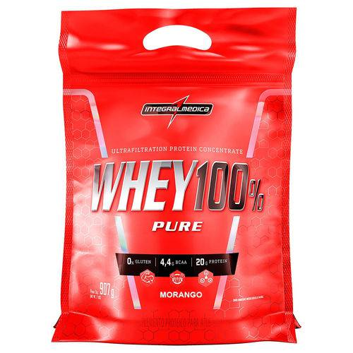 Whey 100% Pouch 907g Morango - Integralmédica