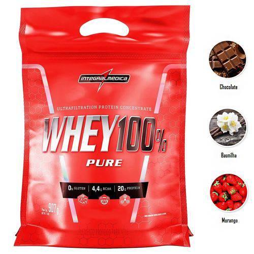 Whey 100% Pure Integralmedica Refil 907g Proteina Concentrada Whey Protein Rico em Bcaa Baunilha