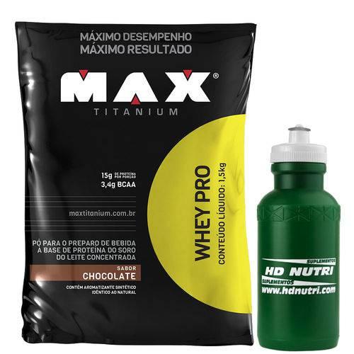 Whey Pro 1,5 Kg Refil - Max Titanium + Squeeze
