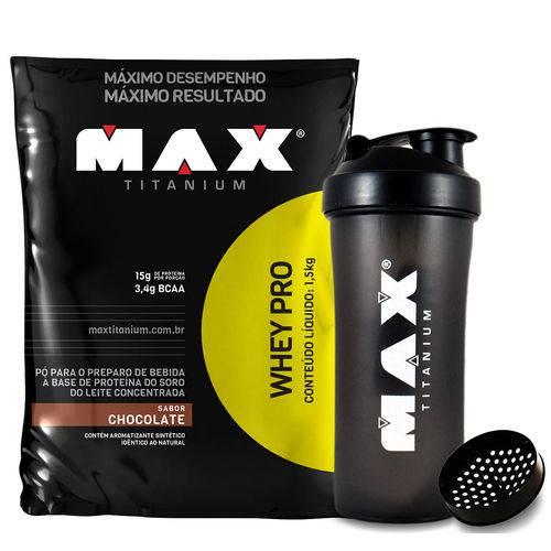 WHEY PRO Refil (1,5kg) Chocolate + Coqueteleira Max Titanium