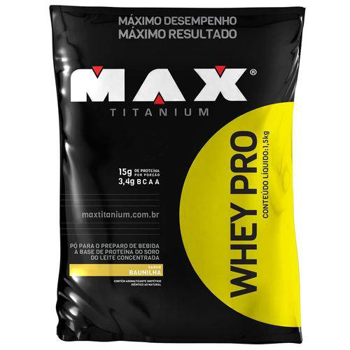 Whey PRO Refil Baunilha 1,5Kg - Max Titanium