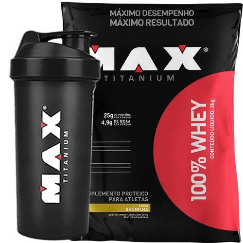 Whey Protein 100% 2kg (Chocolate) + Coqueteleira - Max Titanium