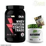 Whey Protein Concentrado 900g Baunilha Dux Nutrition + Glutamina 300g Muscle Pharm + Dose
