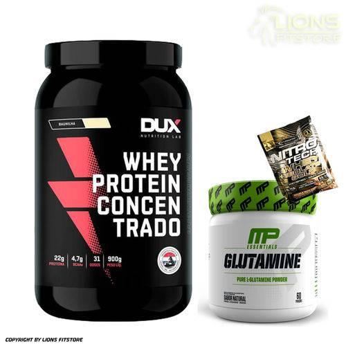 Whey Protein Concentrado 900g Banana Dux Nutrition + Glutamina 300g Muscle Pharm + Dose