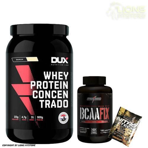 Whey Protein Concentrado 900g Banana - Dux Nutrition + Bcaa Fix 120caps Integralmédica + Dose