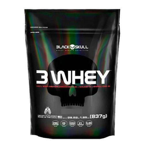 3 Whey Protein Refil - Morango 837g - Black Skull