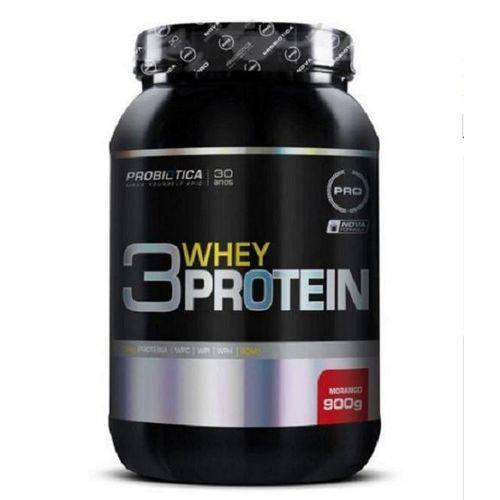 Whey Protein 3W 900g Morango Probiotica