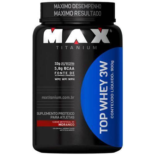 Whey Top Whey 3w Morango Pote 900 Gramas Max Titanium