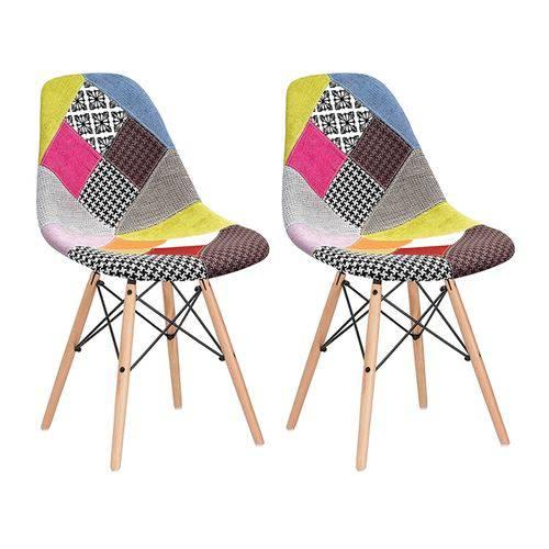2 X Cadeiras Eames DSW - Patchwork - Madeira Clara