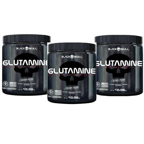 3x Glutamina 300g Black Skull