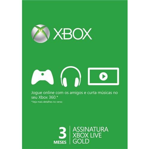 Xbox Live Gold 3 Meses para Xbox 360 e Xbox One - Microsoft